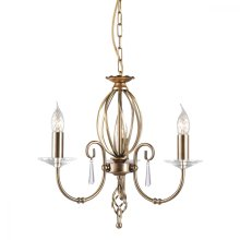Aged Brass 3lt Chandelier - 3 x 60W E14 by Happy Homewares
