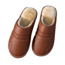 Couple Cotton Slippers Men Waterproof Non-slip Slippers Household Slippers Brown