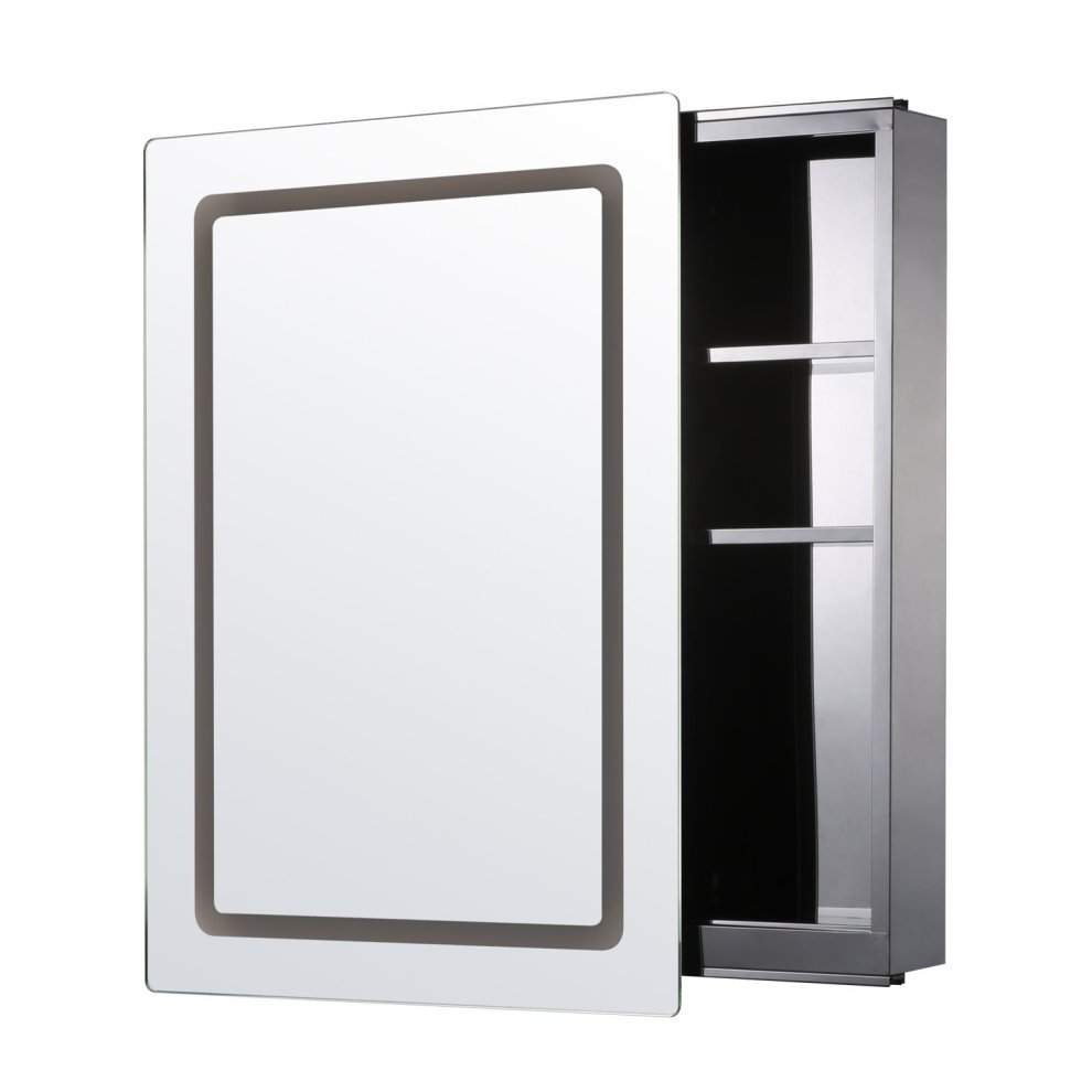 illuminated mirrored bathroom cabinets homcom illuminated mirror cabinet led bathroom wall 17778
