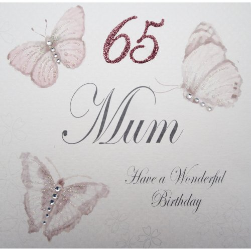WHITE COTTON CARDS Handmade 65 Mum Have A Wonderful Birthday Vintage Butterflies 65th Card White On OnBuy