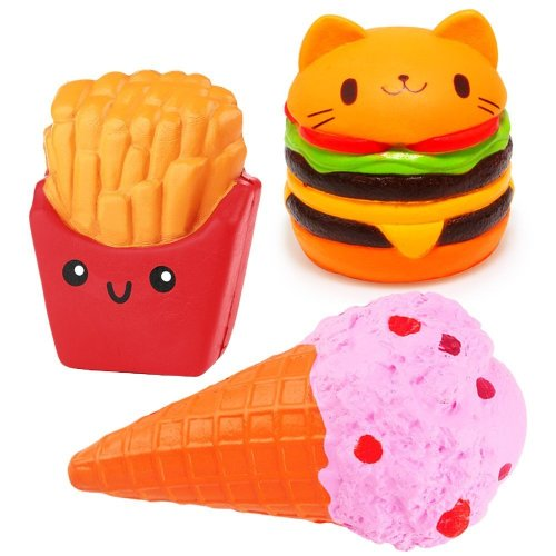 3 Pcs Jumbo Squishies Hamburger Fries Ice Cream Slow Rising Squeeze