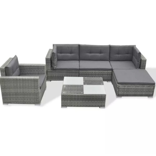 6pc vidaXL 42744 Rattan Garden Sofa Set | 5 Seater Outdoor Rattan Furniture Set