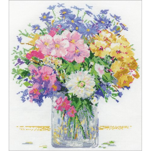 """Design Works Counted Cross Stitch Kit 13""""X14""""-Pastel Floral (14 Count)"""