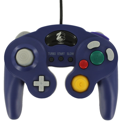 Wired vibration turbo controller for Nintendo GameCube GC - 2pk purple ZedLabz