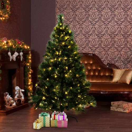 7c5f45a1b682 Homcom Pre-Lit Artificial Christmas Tree with LED Lights on OnBuy