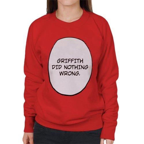Griffith Did Nothing Wrong Berserk Women's Sweatshirt