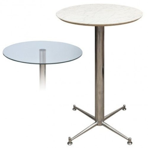 Payson Tall Poseur Kitchen Dining Table Marble or Granite Table Top Table 4 Leg or Stainless Steel Frame 70cm Square(369) Brushed Steel Star - Granite