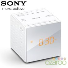 Sony FM/AM Modern Small Cube Clock Radio with Alarm and Snooze - White, ICF-C1