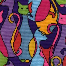 "Design Works Neeedlepoint Kit 12""X12""-Colorful Cat-Stitched In Yarn"