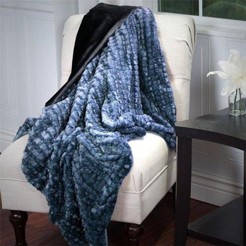 Lavish Home 61-70-BLGR Faux Fur Mink Throw - Plush Striped Embossed, Black & Grey