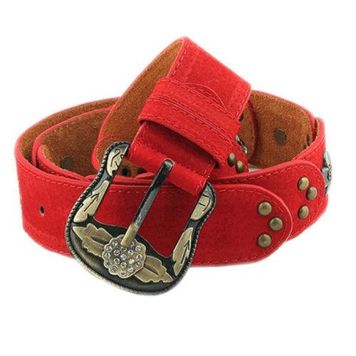 Women Fashion Belt Rivet Dress Decorative Belt Floral Belt [RED]