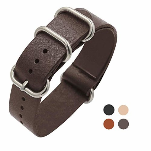 Universal Nato Watch Leather Replacement Wrist Strap Band - Variety of Colours