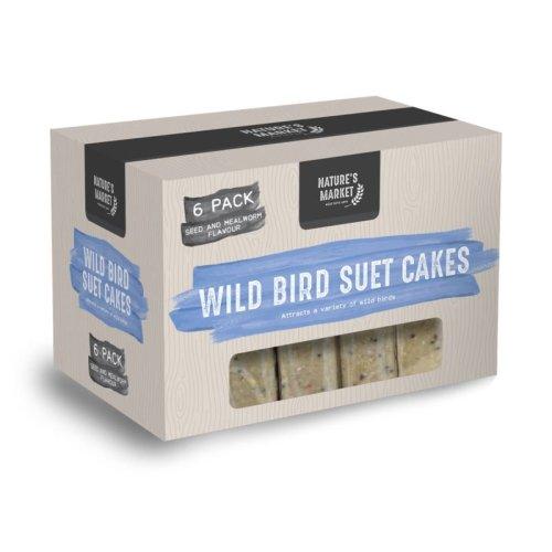 6 x 300g High Energy Suet Fat Blocks Cake Mealworms Feed Wild Bird Food