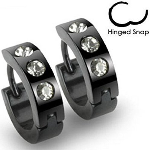 Pair of Three Crystal Encrusted Stainless Steel Hinged Snap Close Huggy Hooped Earrings 0.8mm Thickness