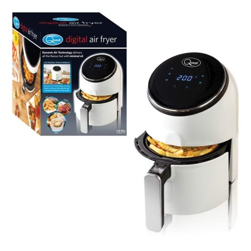 Quest Compact Digital Air Fryer 1300 Watt White 2.6 Litre with LCD Display Kitchen