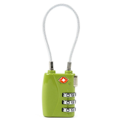 TRIXES Green 3 Dial TSA Combination Secure Cable Travel Lock