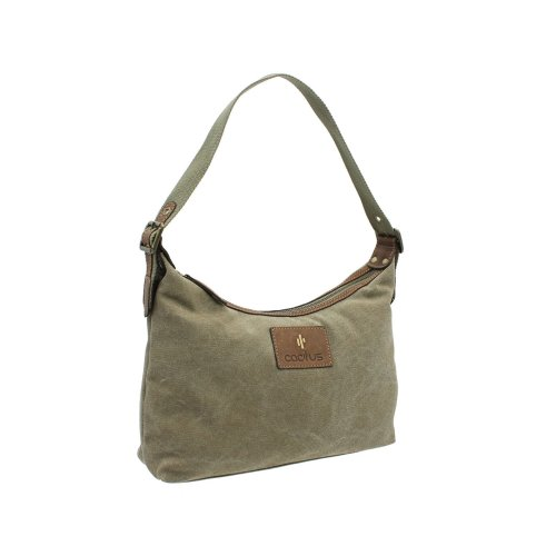 CACTUS Canvas And Distressed Oiled Leather Shoulder Bag CL812_81