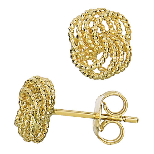 0259b75c7 14k Yellow Gold Twisted Cable 4 Line Love Knot Type Stud Earrings, 9 x 8mm  on OnBuy