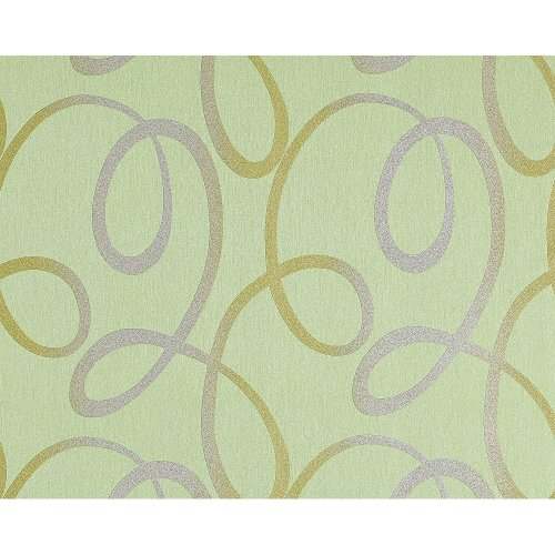 EDEM 694-95 Abstract loops nonwoven wallpaper lightgreen silver gold   10.65 sqm