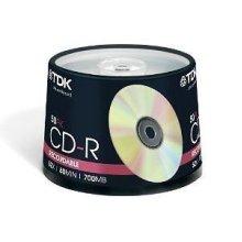 50 CDR TDK Blank Discs Cd-R RecordableGVPS80 Mins 52X 700MB