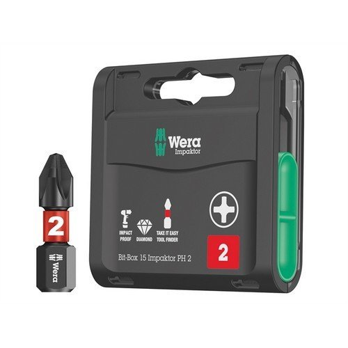 Wera WER057752 Bit-Box 15 Impaktor PH2 x 25mm 15 Piece