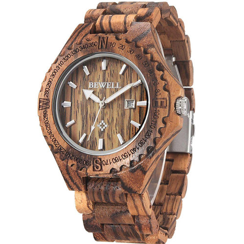Bewell Mens' Brown Verawood Watch - W023A