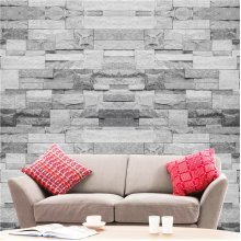 Hyfive - Wallpaper 3D Brick Effect - Straight - Grey Stone Colour - 10 x 0.53 m