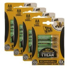 16 x JCB AA 2400mAh Rechargeable Batteries HR6 Charged And Ready To Use