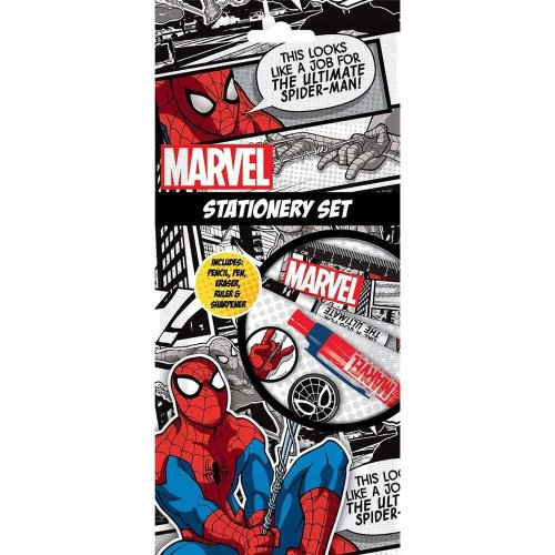 Marvel Spiderman Stationery Pen Pencil Ruler Sharpener & Eraser Party Bag