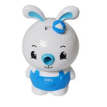 Cute Rabbit Manual Pencil Sharpener for Office and Classroom (Blue/White)