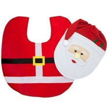 Santa Clause / Elf Toilet Seat Cover & Floor Mat Bathroom Father Christmas Xmas