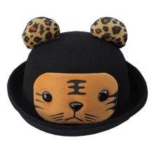 Fashion Baby Woolen Hat Children Bucket Hat Bowler Hat Tiger Black