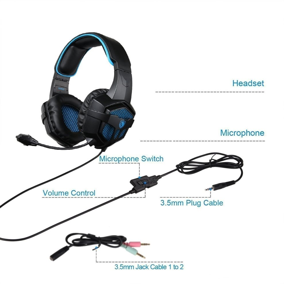 Gaming Headset, Sades SA807 PS4 Xbox ONE Gaming Headphones, Over Ear  Headphones With Mic, Volume Control, Stereo Sound, Adjustable Headband,