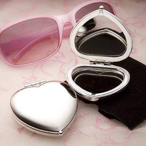 Heart Shaped Silver Compact Mirror Favors