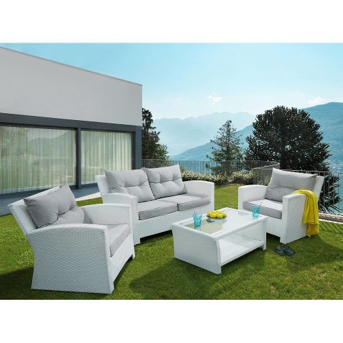 Outdoor Sofa Set - 4- Piece Patio Rattan Set - White - SAN MARINO