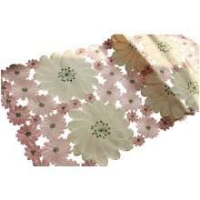 """15"""" by 39""""PINK Rural Haik Embroidered Cutwork Table Runner Bountiful Table Cloth"""