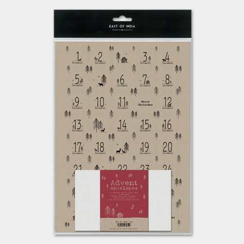East of India advent calendar 24 envelopes +  stickers Brown Kraft DIY Advent