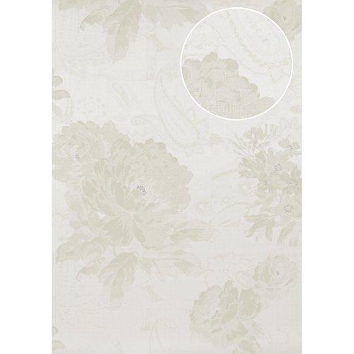 Atlas TEM-5109-1 Flowers wallcovering shimmering white light-ivory 7.035 sqm