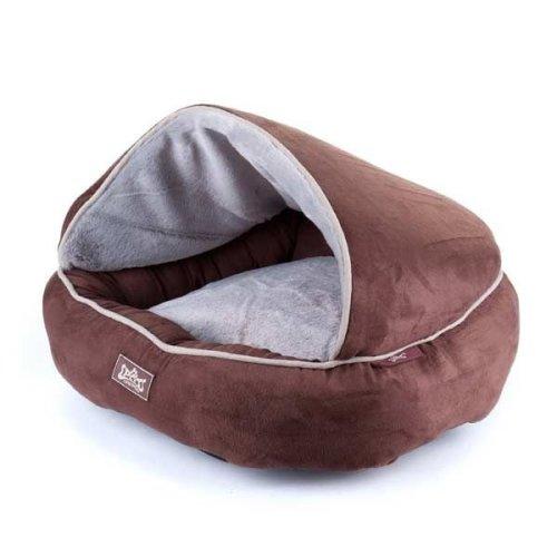 Dog Bed Hamburger Style Hooded (Chocolate)