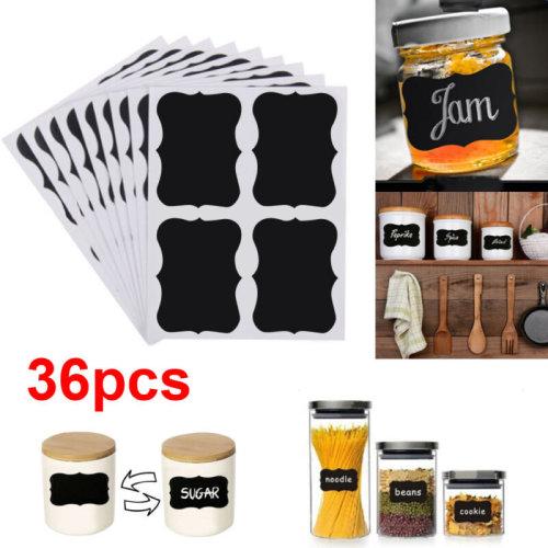 36pcs Chalkboard Blackboard Chalk Board Stickers Craft Kitchen Jar Labels Tags