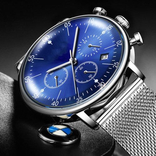 Good Great Look Slim Luxury Blue Stainless Steel Watch Water Resist