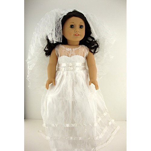 White Wedding or Confirmation Gown with See Thru Lace and Long Veil Designed for 18 Inch Doll