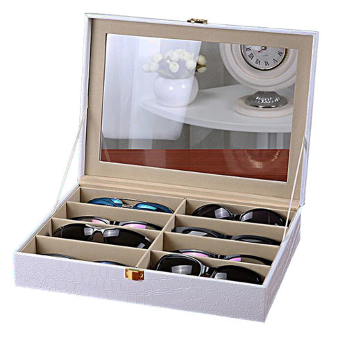 Leather Storage Case Eyeglasses Display Organizer Box– 8 Compartments (White)