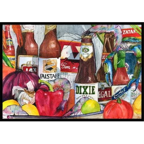 Carolines Treasures 1017MAT New Orleans Beers and Spices Indoor Or Outdoor Mat - 18 x 27 in.