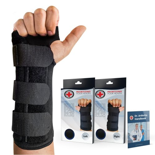 Doctor Developed Carpal Tunnel Night Wrist Brace & Wrist Support [Single] (with Splint) & Doctor Written Handbook - Fully Adjustable to Fit Any...