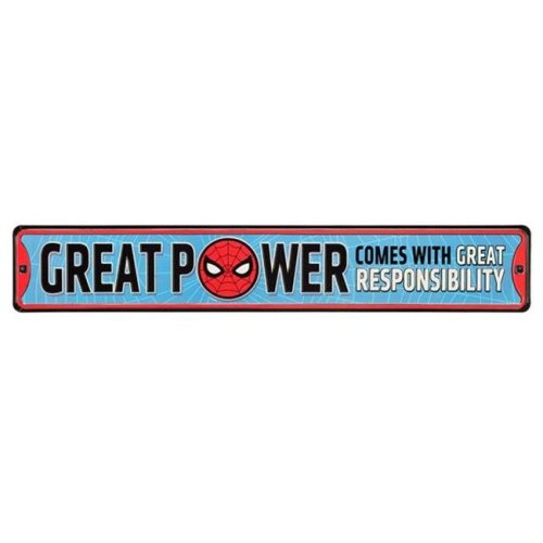 Marvel 90168813-S Spider-Man Great Power Embossed Tin Street Sign