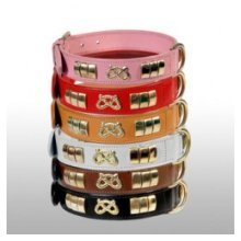 """1.25"""" x 16-19"""" Pink Bull Terrier Collar -  dog co bull terrier leather collar pink 1 14 pinksilver x1619"""
