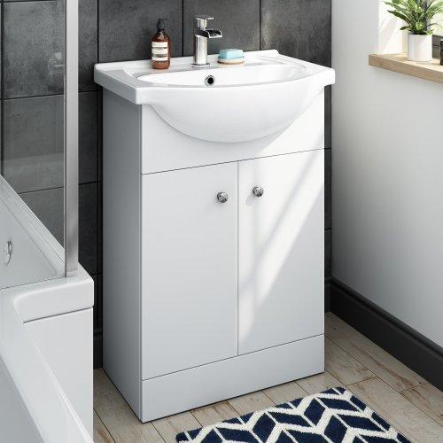 550 mm Matte White Vanity Sink Unit Ceramic Basin Bathroom Storage Furniture MV7011