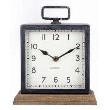 Metal Mantle Clock with Wooden Base Freestanding Clock