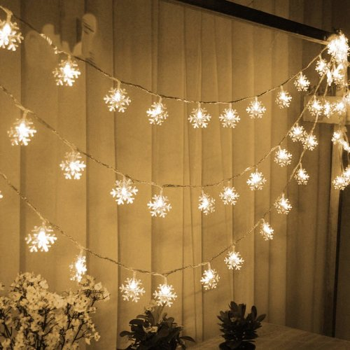 TRIXES Snowflake Lights Indoor Christmas Decoration Fairy Lights